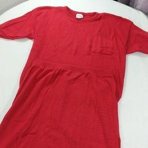 Vtg 80s 100% cotton knit skirt & matching top set